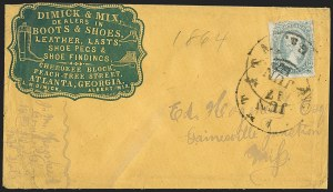 Sale Number 1151, Lot Number 1737, General Issues on Cover: Engraved (Scott 11-12)10c Blue, Die A (11), 10c Blue, Die A (11)