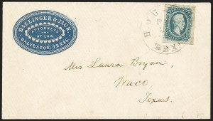 Sale Number 1151, Lot Number 1738, General Issues on Cover: Engraved (Scott 11-12)10c Blue, Die A (11), 10c Blue, Die A (11)
