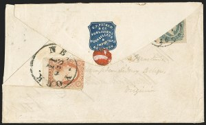 Sale Number 1151, Lot Number 1739, General Issues on Cover: Engraved (Scott 11-12)10c Blue, Die A (11), 10c Blue, Die A (11)