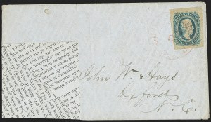 Sale Number 1151, Lot Number 1742, General Issues on Cover: Engraved (Scott 11-12)10c Blue, Die A (11), 10c Blue, Die A (11)