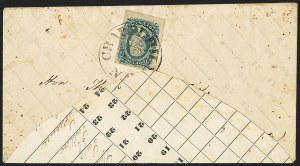 Sale Number 1151, Lot Number 1743, General Issues on Cover: Engraved (Scott 11-12)10c Blue, Die A (11), 10c Blue, Die A (11)