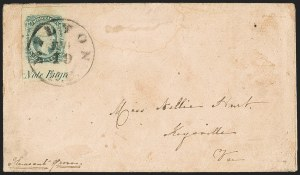 Sale Number 1151, Lot Number 1750, General Issues on Cover: Engraved (Scott 11-12)10c Greenish Blue, Die B (12c), 10c Greenish Blue, Die B (12c)
