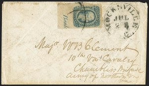 Sale Number 1151, Lot Number 1751, General Issues on Cover: Engraved (Scott 11-12)10c Blue, Die B (12), 10c Blue, Die B (12)