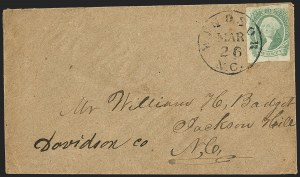 Sale Number 1151, Lot Number 1756, General Issues on Cover: Engraved (Scott 13)20c Yellow Green (13a), 20c Yellow Green (13a)