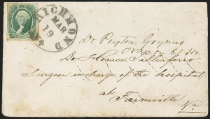 Sale Number 1151, Lot Number 1757, General Issues on Cover: Engraved (Scott 13)20c Green (13), 20c Green (13)