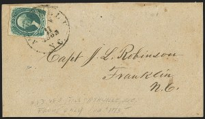 Sale Number 1151, Lot Number 1760, General Issues on Cover: Engraved (Scott 13)20c Green (13), 20c Green (13)