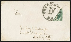 Sale Number 1151, Lot Number 1761, General Issues on Cover: Engraved (Scott 13)20c Green, Diagonal Half Used as 10c (13d), 20c Green, Diagonal Half Used as 10c (13d)
