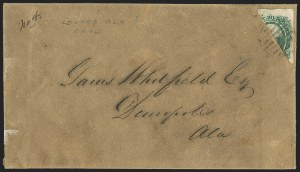 Sale Number 1151, Lot Number 1762, General Issues on Cover: Engraved (Scott 13)20c Green, Diagonal Half Used as 10c (13d), 20c Green, Diagonal Half Used as 10c (13d)