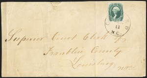 "Sale Number 1151, Lot Number 1763, General Issues on Cover: Engraved (Scott 13)20c Green, Oxford N.C. ""Coil"" Roulette (13 var), 20c Green, Oxford N.C. ""Coil"" Roulette (13 var)"