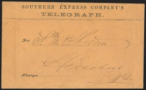 Sale Number 1151, Lot Number 1829, Railroads and TelegraphsSouthern Express Company's Telegraph, Southern Express Company's Telegraph