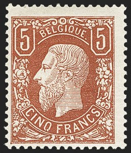 Sale Number 1152, Lot Number 1021, Austria (Lombardy-Venetia) thru ChileBELGIUM, 1875, 5fr Deep Brown Red (39; COB 37), BELGIUM, 1875, 5fr Deep Brown Red (39; COB 37)