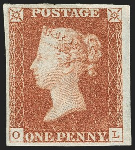 "Sale Number 1152, Lot Number 11, Great Britain - 1840-41 Line EngravedGREAT BRITAIN, 1841, 1p Red Brown Printed From ""Black Plate"" (3 var; SG 7), GREAT BRITAIN, 1841, 1p Red Brown Printed From ""Black Plate"" (3 var; SG 7)"