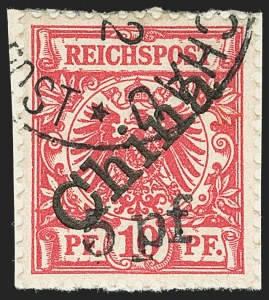 Sale Number 1152, Lot Number 1391, German Offices Abroad thru HungaryGERMANY, Offices in China, 1900, 5pf on 10pf Carmine, 45 Degree Overprint (16a; Michel 7IB), GERMANY, Offices in China, 1900, 5pf on 10pf Carmine, 45 Degree Overprint (16a; Michel 7IB)