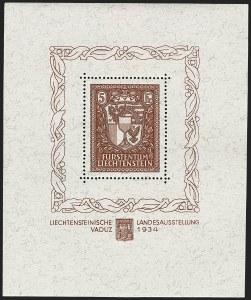 Sale Number 1152, Lot Number 1475, Liberia thru MexicoLIECHTENSTEIN, 1934, 5m Vaduz Souvenir Sheet (115; Michel Block 1), LIECHTENSTEIN, 1934, 5m Vaduz Souvenir Sheet (115; Michel Block 1)