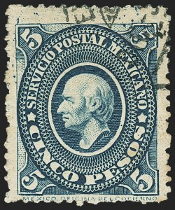 Sale Number 1152, Lot Number 1494, Liberia thru MexicoMEXICO, 1892, 5p Blue Green (230), MEXICO, 1892, 5p Blue Green (230)