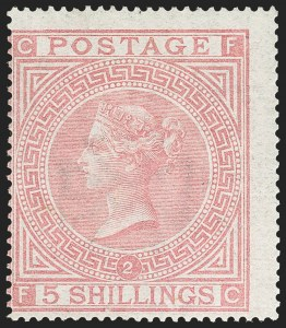 Sale Number 1152, Lot Number 26, Great Britain - 1847 Embossed Issue thru Queen Victoria IssuesGREAT BRITAIN, 1867, 5sh Pale Rose (57a; SG 127), GREAT BRITAIN, 1867, 5sh Pale Rose (57a; SG 127)