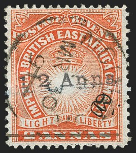 "Sale Number 1152, Lot Number 320, British Central Africa thru British East AfricaBRITISH EAST AFRICA, 1891, -1/2a on 2a Vermilion, Manuscript ""A.D."" (31; SG 20), BRITISH EAST AFRICA, 1891, -1/2a on 2a Vermilion, Manuscript ""A.D."" (31; SG 20)"