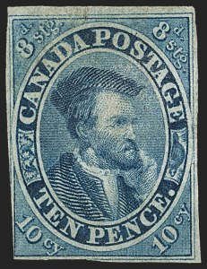 Sale Number 1152, Lot Number 382, Canada - Pence Issues thru Small QueensCANADA, 1855, 10p Blue (7; SG 15), CANADA, 1855, 10p Blue (7; SG 15)