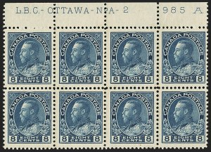 Sale Number 1152, Lot Number 417, Canada - Jubilee Issue thru Back-of-BookCANADA, 1925, 8c Blue, Dry Printing (115), CANADA, 1925, 8c Blue, Dry Printing (115)