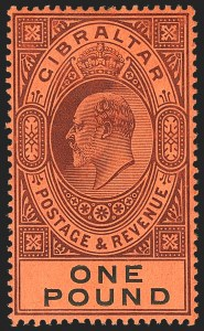 Sale Number 1152, Lot Number 490, Fiji thru GibraltarGIBRALTAR, 1904, £1 Violet & Black on Red (64; SG 64), GIBRALTAR, 1904, £1 Violet & Black on Red (64; SG 64)