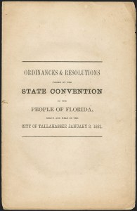 Sale Number 1153, Lot Number 2001, Florida Confederate DocumentsFlorida Secession Resolution, Florida Secession Resolution