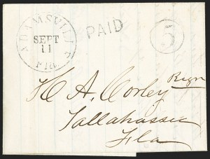 Sale Number 1153, Lot Number 2025, Florida Town Postmarks with Paid and Due Markings, Adamsville thru Mt. PleasantAdamsville Fla. Sept. 11 (1861), Adamsville Fla. Sept. 11 (1861)