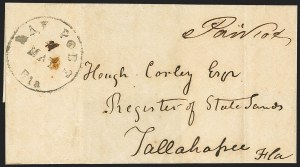 Sale Number 1153, Lot Number 2029, Florida Town Postmarks with Paid and Due Markings, Adamsville thru Mt. PleasantBay Port Fla. 11 May (1863), Bay Port Fla. 11 May (1863)