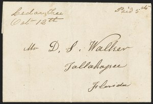 "Sale Number 1153, Lot Number 2030, Florida Town Postmarks with Paid and Due Markings, Adamsville thru Mt. Pleasant""Cedar Tree Oct -- 12th"" (1861), ""Cedar Tree Oct -- 12th"" (1861)"