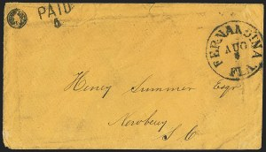 Sale Number 1153, Lot Number 2035, Florida Town Postmarks with Paid and Due Markings, Adamsville thru Mt. PleasantFernandina Fla. Aug. 8 (1861), Fernandina Fla. Aug. 8 (1861)