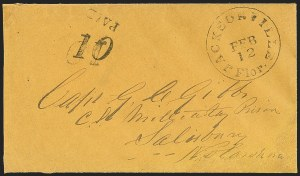 Sale Number 1153, Lot Number 2040, Florida Town Postmarks with Paid and Due Markings, Adamsville thru Mt. PleasantJacksonville Flor. Feb. 12 (1862), Jacksonville Flor. Feb. 12 (1862)
