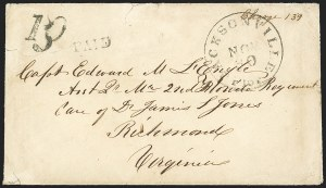 Sale Number 1153, Lot Number 2042, Florida Town Postmarks with Paid and Due Markings, Adamsville thru Mt. PleasantJacksonville Flor. Nov. 30 (1861), Jacksonville Flor. Nov. 30 (1861)