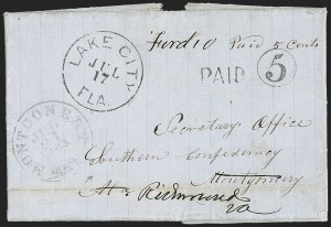 Sale Number 1153, Lot Number 2044, Florida Town Postmarks with Paid and Due Markings, Adamsville thru Mt. PleasantLake City Fla. Jul. 17 (1861), Lake City Fla. Jul. 17 (1861)