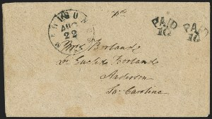 Sale Number 1153, Lot Number 2048, Florida Town Postmarks with Paid and Due Markings, Adamsville thru Mt. PleasantMadison C.H. Fla. Aug. 22, Madison C.H. Fla. Aug. 22