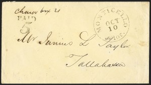 Sale Number 1153, Lot Number 2053, Florida Town Postmarks with Paid and Due Markings, Adamsville thru Mt. PleasantMonticello Flor. Oct. 10 (1861), Monticello Flor. Oct. 10 (1861)