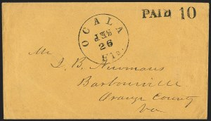 Sale Number 1153, Lot Number 2058, Florida Town Postmarks with Paid and Due Markings, Newnansville thru White SpringsOcala Fla. Sep. 26, Ocala Fla. Sep. 26