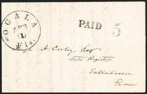 Sale Number 1153, Lot Number 2059, Florida Town Postmarks with Paid and Due Markings, Newnansville thru White SpringsOcala Fla. Apr. 1 (1862), Ocala Fla. Apr. 1 (1862)