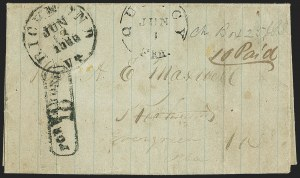 Sale Number 1153, Lot Number 2068, Florida Town Postmarks with Paid and Due Markings, Newnansville thru White SpringsQuincy Flor. Jun. 1 (1863), Quincy Flor. Jun. 1 (1863)