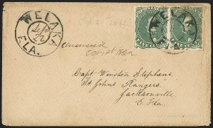 Sale Number 1153, Lot Number 2107, General Issues on Cover, Scott 1-75c Green, Stone 1-2 (1), 5c Green, Stone 1-2 (1)
