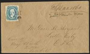 Sale Number 1153, Lot Number 2140, General Issues on Cover, Scott 9-1310c Blue, Die A (11), 10c Blue, Die A (11)