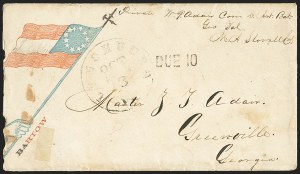 Sale Number 1155, Lot Number 3004, Confederate States, Handstamped Paid thru Postmasters ProvisionalsLynchburg Va. Oct. 3, Lynchburg Va. Oct. 3