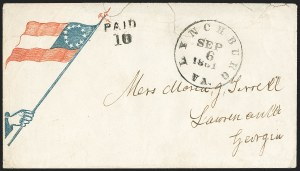 Sale Number 1155, Lot Number 3005, Confederate States, Handstamped Paid thru Postmasters ProvisionalsLynchburg Va. Sep. 6, 1861, Lynchburg Va. Sep. 6, 1861