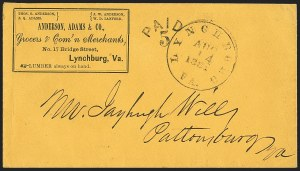 Sale Number 1155, Lot Number 3006, Confederate States, Handstamped Paid thru Postmasters ProvisionalsLynchburg Va. Aug. 14, 1861, Lynchburg Va. Aug. 14, 1861