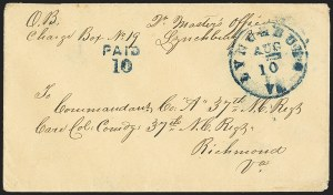 Sale Number 1155, Lot Number 3007, Confederate States, Handstamped Paid thru Postmasters ProvisionalsLynchburg Va. Aug. 10, Lynchburg Va. Aug. 10