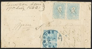 Sale Number 1155, Lot Number 3027, Confederate States, General Issues on-Cover5c Light Milky Blue, Stone 2 (4b), 5c Light Milky Blue, Stone 2 (4b)