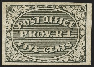 Sale Number 1156, Lot Number 3305, Postmasters ProvisionalsProvidence, Rhode Island, 5c Gray Black (10X1), Providence, Rhode Island, 5c Gray Black (10X1)