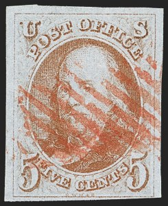 Sale Number 1156, Lot Number 3310, 1847 Issue and Reproduction (Scott 1-4)5c Red Orange (1c), 5c Red Orange (1c)