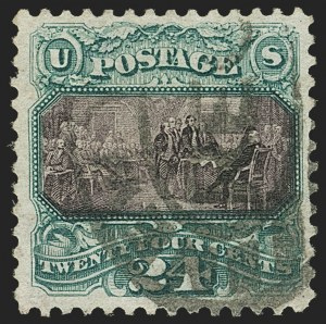 Sale Number 1156, Lot Number 3386, 1875 Re-Issue of 1869 Pictorial Issue (Scott 123-133a)24c Green & Violet, Re-Issue (130), 24c Green & Violet, Re-Issue (130)