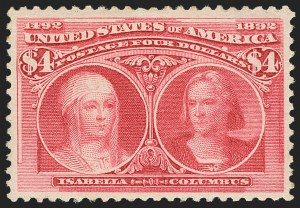 Sale Number 1156, Lot Number 3419, 1893 Columbian Issue (Scott 230-245)$4.00 Columbian (244), $4.00 Columbian (244)