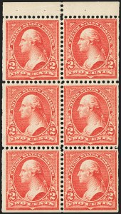 Sale Number 1156, Lot Number 3439, 1894-97 Bureau Issues (Scott 246-284)2c Red, Ty. IV, Booklet Pane of Six, Vertical Wmk. (279Bk), 2c Red, Ty. IV, Booklet Pane of Six, Vertical Wmk. (279Bk)