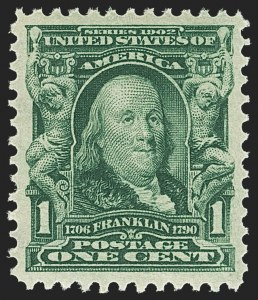 Sale Number 1156, Lot Number 3457, 1902-08 Issues (Scott 300-320)1c Blue Green (300), 1c Blue Green (300)
